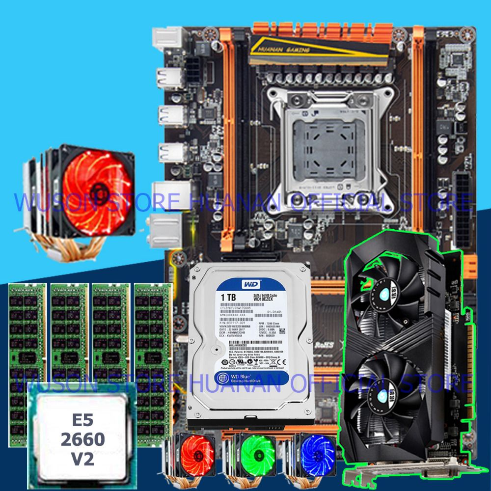 HUANAN computer DIY deluxe X79 motherboard CPU E5 2660 V2 with 6 heatpipes cooler RAM 16G(4*4G) DDR3 RECC 1TB SATA HDD GTX1050Ti