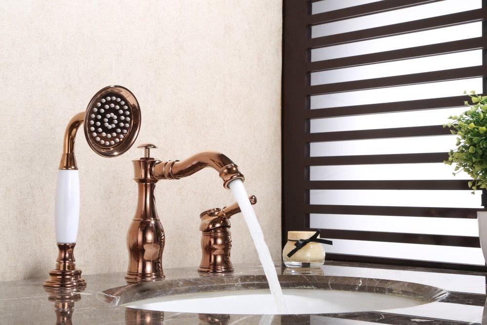 Rose gold Messing Bad Becken wasserhahn Badewanne Wasserhahn mit Pull Out Handbrause Mischbatterien