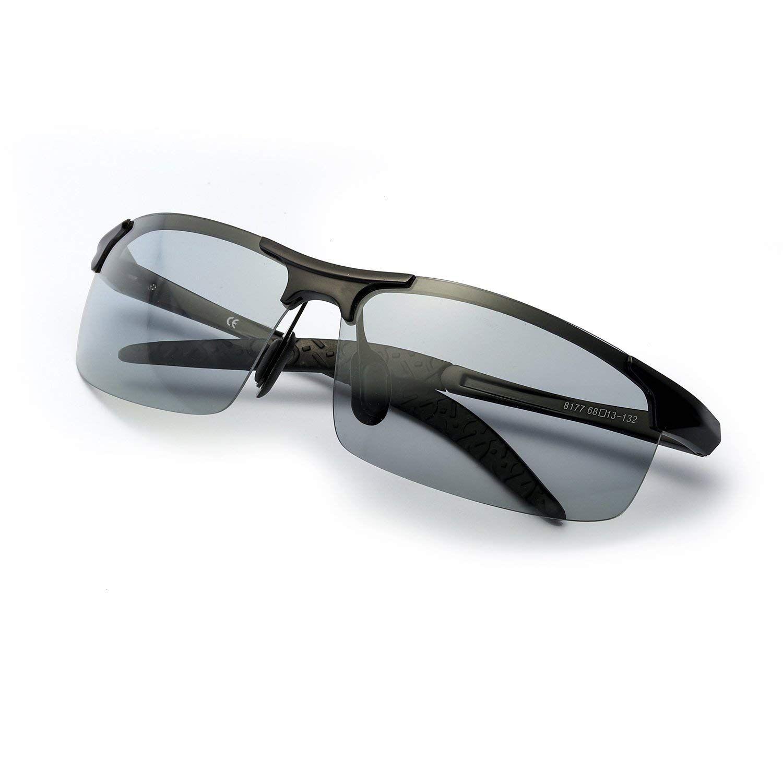 Lunettes de soleil photochromiques polarisées demi-sans monture pilote cavalier lunettes de sport caméléon changement de couleur lunettes hommes femmes 8177