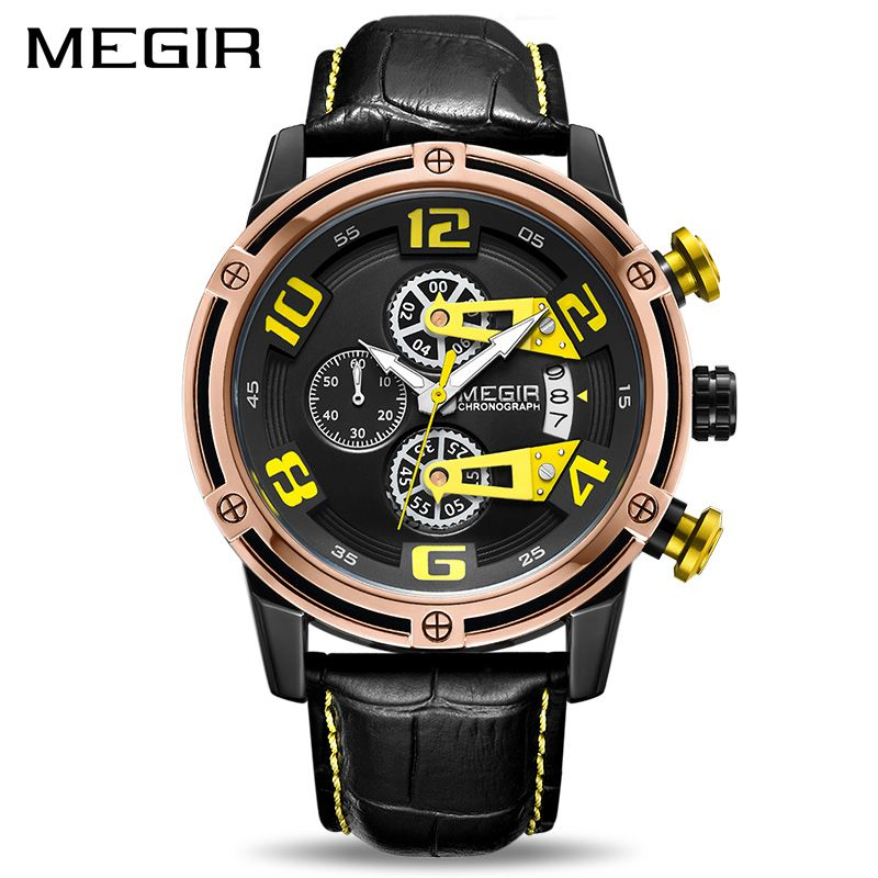 MEGIR Creative Sport Men Watch Leather Chronograph Quartz Wrist Watches Men Army Military Watch Reloj Hombre Relogio Masculino