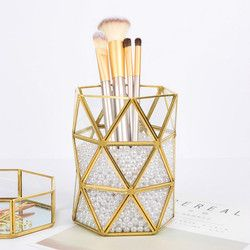 Barrel Metal Copper Geometric Makeup Brush Cartridge Retro Pack Bottle Glass Box Office Accessories Pen Holder Pencil Holder