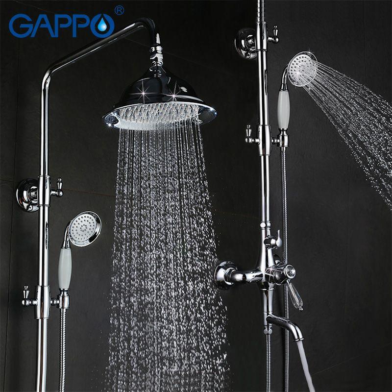 GAPPO antike bad dusche wasserhahn set badewanne mixer dusche armaturen chrome Bad Dusche wasserhahn wasserfall regen duschkopf G2497