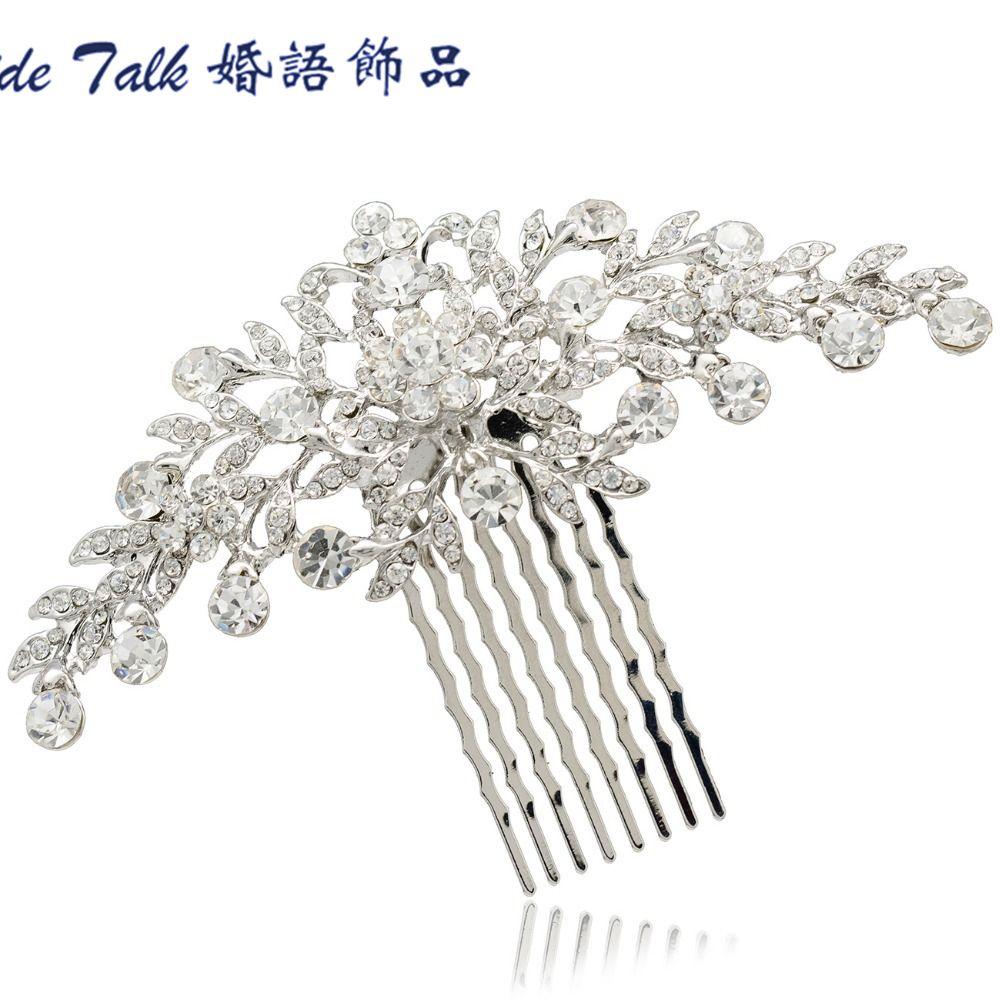 Livraison gratuite accessoires de cheveux de mariage mariée mariée Floral cheveux peigne pièces de tête bijoux de cheveux clair strass cristaux COFA2944