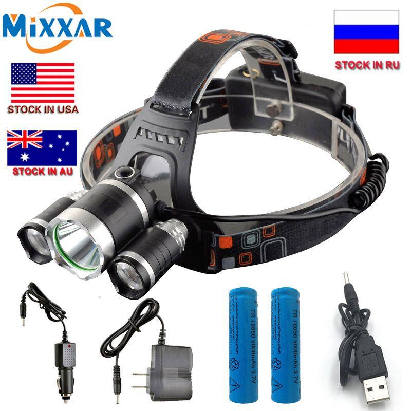 ZK20 livraison directe phare LED T6 13000Lm tête Lam randonnée pêche phare lumière + 2x18650 5000 mah batterie + chargeur de voiture murale