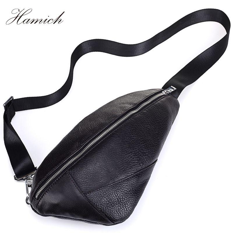 Hamich Men Messenger Bags Genuine Leather Men'S Bags Chest Pack Sling Chest Leather Shoulder Bags Black Crossbody Bags For Men