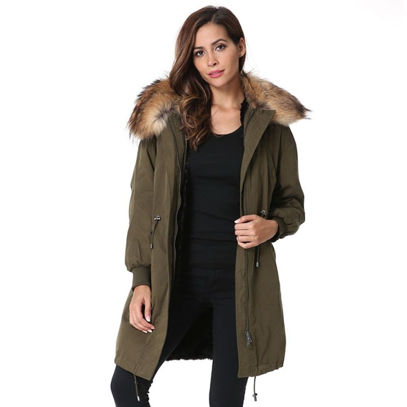 Large Real Natural Raccoon Fur 2018 New Brand Hooded Coat Parkas Outwear Loose Thicken Warm Faux Fur Liner Winter Jacket Women