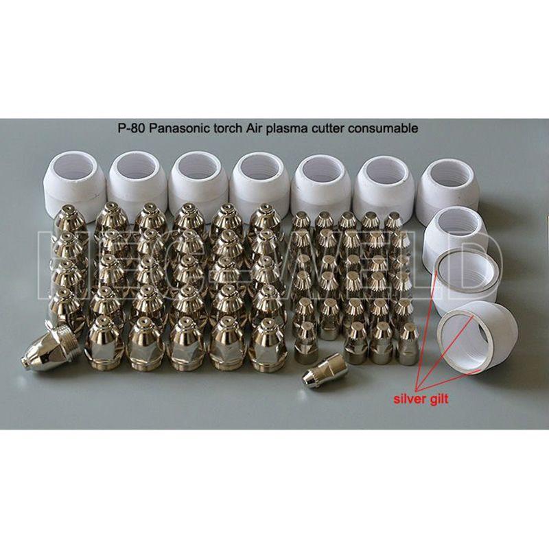 P80 Panasonic воздуха plasma Резка Cutter Факел Расходные плазменного насадки 60/80/100amp Плазменные электроды 70pk нож