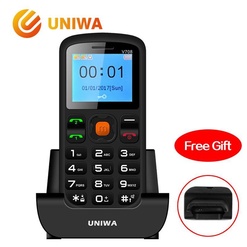 Uniwa V708 Vieux Téléphone Mobile De Charge Berceau Principal Fonctionnalité D'enfants Téléphone GSM FM Radio Grand SOS Bouton Clavier Russe téléphone portable