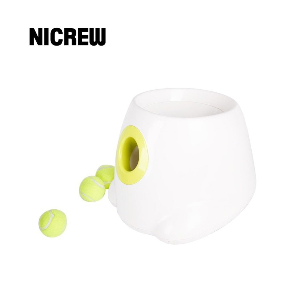 Nicrew Pet Dog Toy Automatic Interactive Ball Launcher Tennis Ball Throwing Machine Launching Fetching Balls Dog Training Tool