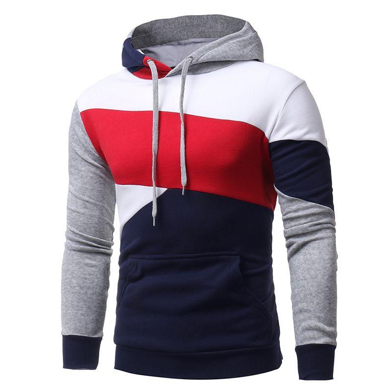 2017 Men's Sweatshirt & Hoodies Hip Hop Hoodies Male Brand Hoodies Color Striped Patchwork Men Slim Fit Men pullover Hoodie W117