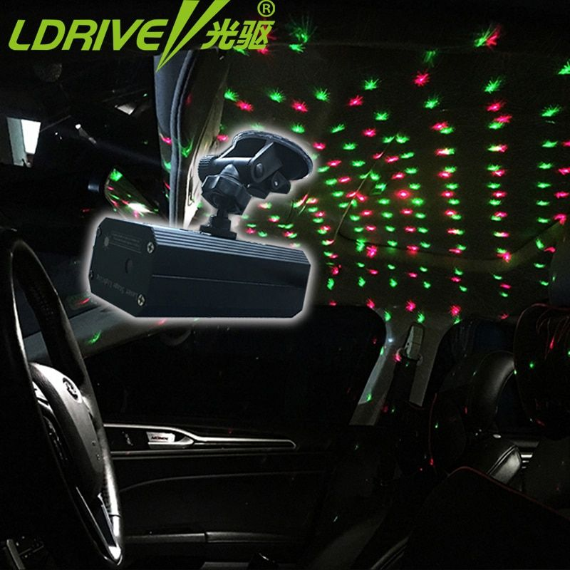 12V Romantic laser Projector Car DJ lighting Light dance Disco Voice-activated Party Stage Lights Show USB/Music control lights