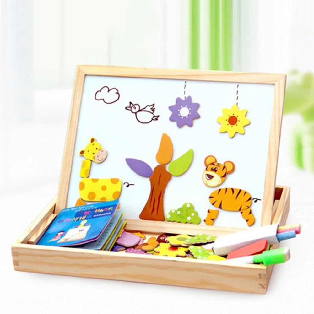 100 + Pcs En Bois Magnétique Puzzle Jouets Enfants 3D Puzzle Figure/Animaux/Véhicule/Cirque Planche à Dessin 5 styles D'apprentissage Jouets En Bois