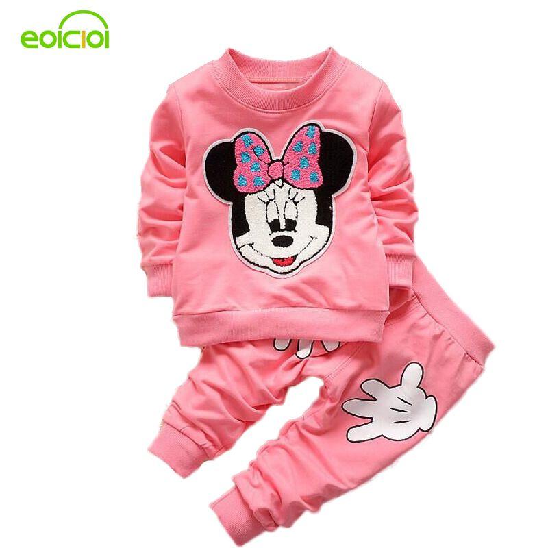 EOICIOI Automne Minnie Bébé filles vêtements ensembles enfants vêtements bebe fille coton à manches longues ensemble T-shirt + Pantalon fille Ensemble