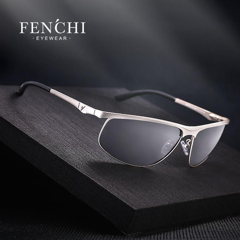 FENCHI lunettes de soleil polarisées hommes marque Designer nouveau mode lunettes en métal conduite UV400 lunettes de soleil lunettes