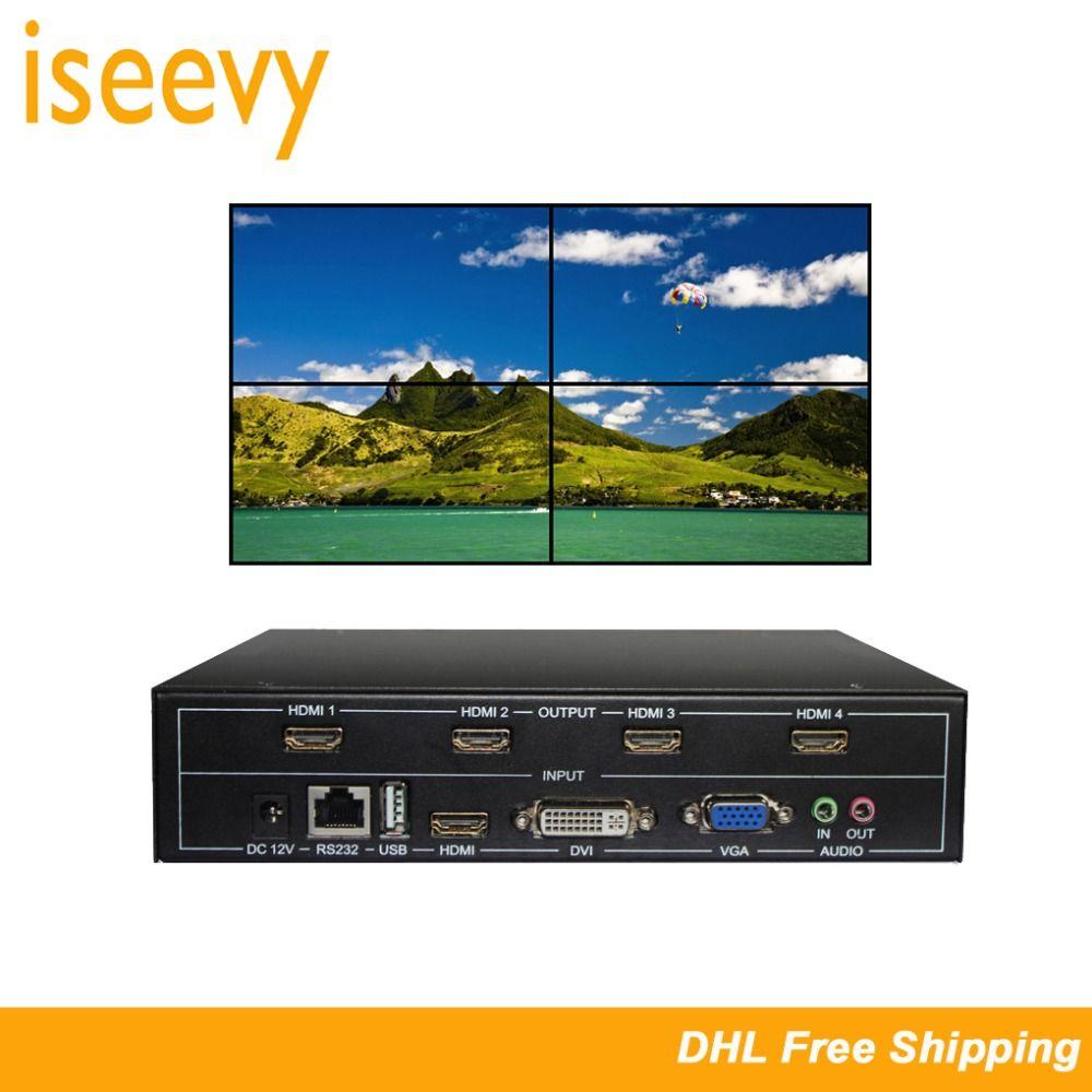 ISEEVY 4 Kanal Video Wand Controller 2x2 HDMI DVI VGA USB Video Prozessor mit RS232 Control für 4 TV Spleißen