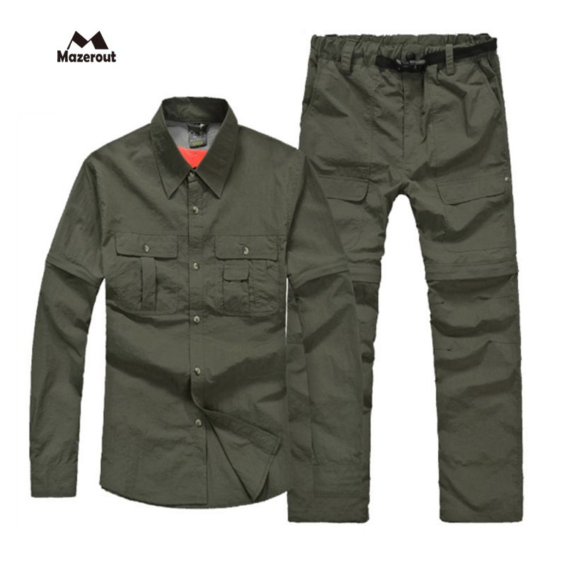 MAZEROUT 2017 Man New Summer Fishing Trekking quick dry shirt Hiking Trousers Sport camping Breathable Travel Training Pant S23