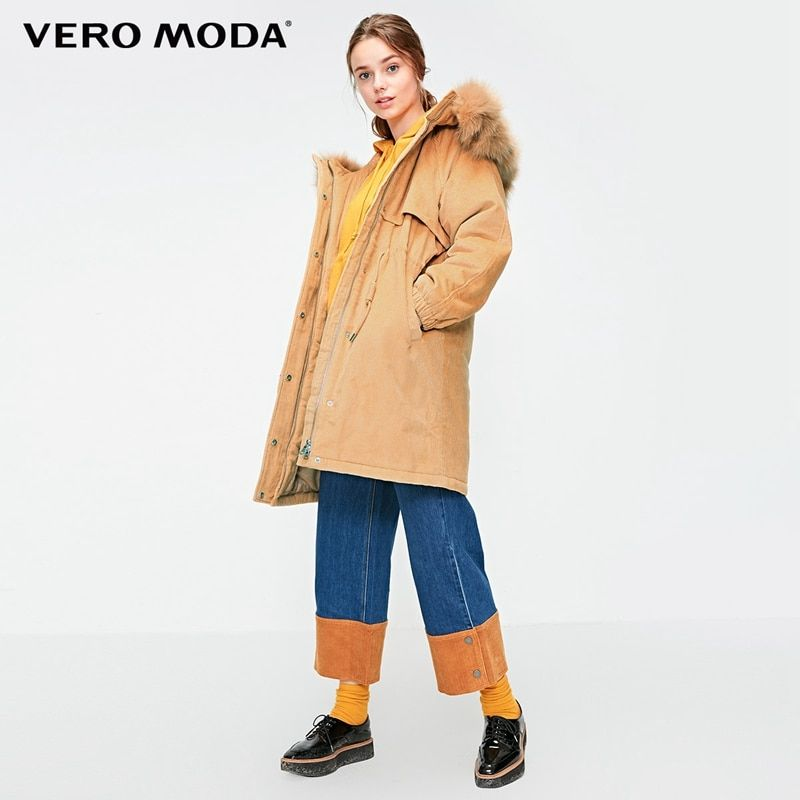 Vero Moda 2019 Neue Abnehmbare Fuchs Pelz Kragen Cord Outwear Oversize Polsterung Parka Mantel   318422508