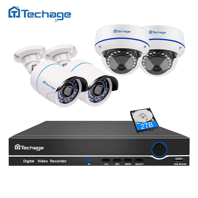 Techage 8CH 1080P POE CCTV System NVR Kit Vandalproof Anti-vandal Dome Indoor Outdoor IP Camera P2P Onvif Surveillance Set