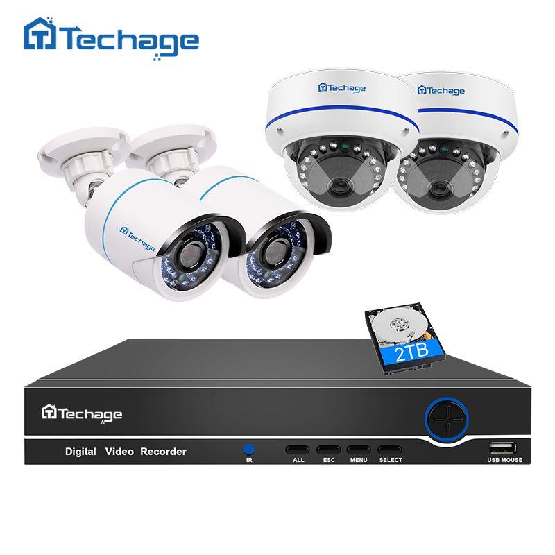 Techage 8CH 1080P POE CCTV System NVR Kit Vandalproof Anti-vandal Dome Indoor Outdoor IP Camera P2P Onvif Surveillance Set