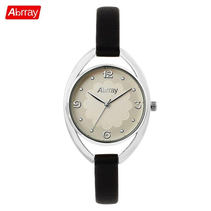 Abrray изысканные женские часы 3ATM Водонепроницаемый Часы Леди кварцевые наручные часы с ПУ красный/белый/черный/коричневый Цвет группа