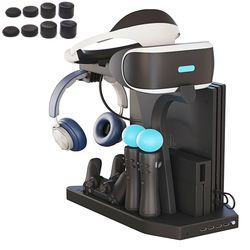 For PS4 VR PS4 Pro Slim PSVR PS4 Vertical Stand,Cooling Fan Cooler,Controller Charger and Hub Charging Display Stand Showcase