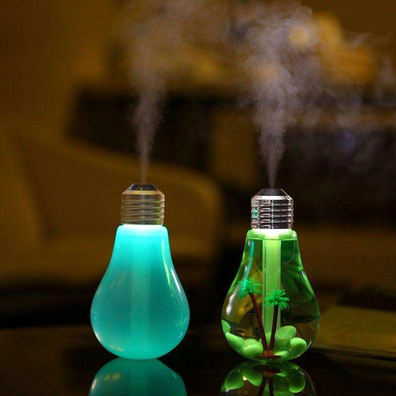 USB humidificateur à ultrasons bureau à domicile Mini aromathérapie coloré LED ampoule de nuit aromathérapie atomiseur bouteille créative
