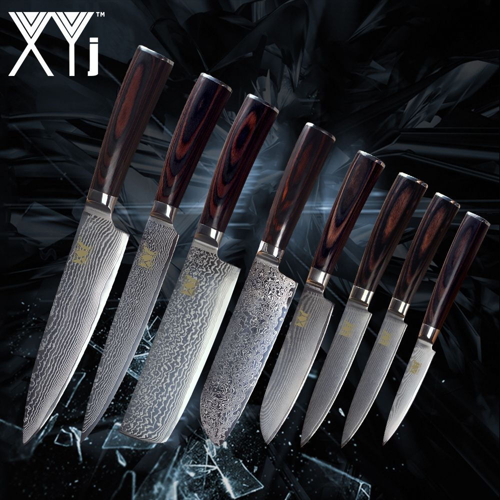 XYj Kitchen Damascus Steel Knives New Arrival 2018 VG10 Core 8 Pcs Sets Japanese Damascus Steel Kitchen Cooking Accessories Tool