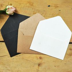 50pcs/lot Black White Craft Paper Envelopes Vintage European Style Envelope For Card Scrapbooking Gift