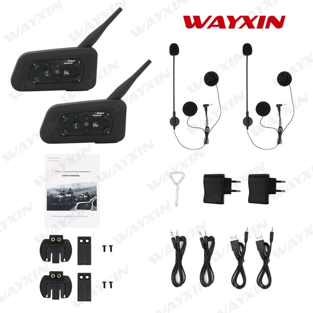2PCS/lot Brand WAYXIN New 2017 1200M Motorcycle Bluetooth Helmet Intercom upto 6 riders Wireless Waterproof Interphone Headsets