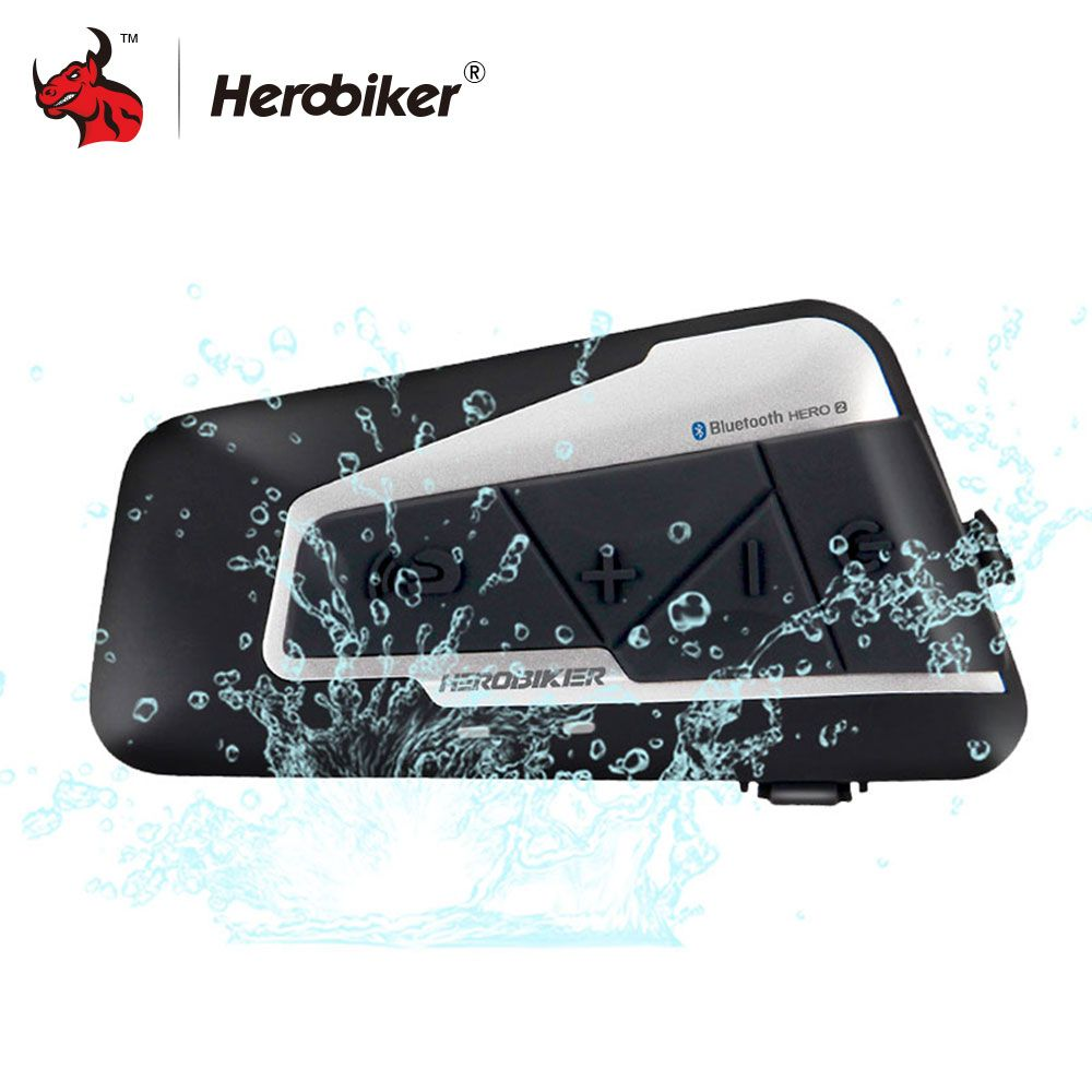 HEROBIKER 1200M Bluetooth Intercom Motorcycle Helmet <font><b>Interphone</b></font> Headset Waterproof Wireless Bluetooth Moto Headset <font><b>Interphone</b></font>