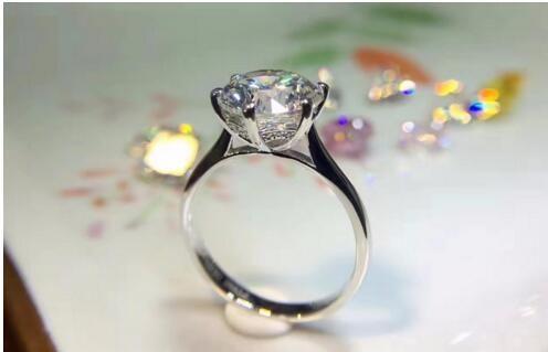585 3 carat 9 MM Moissan ite ring