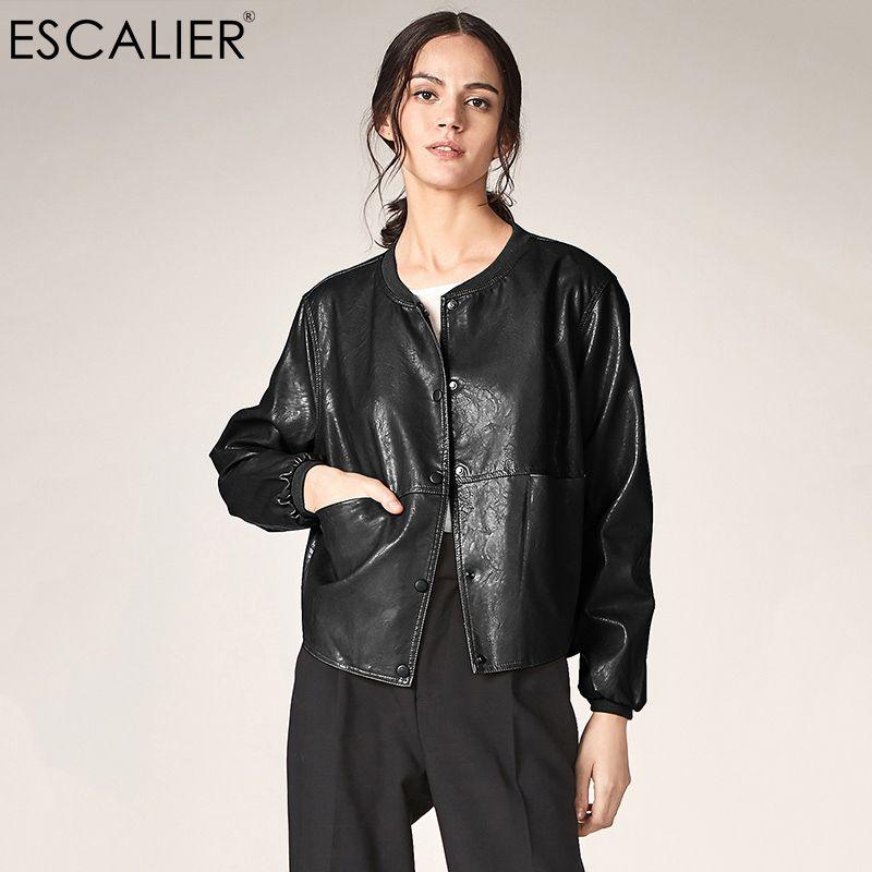 ESCALIER automne cuir veste décontracté à manches longues bouton Slim basique vestes 2018 mode PU cuir Bomber manteau Femininas