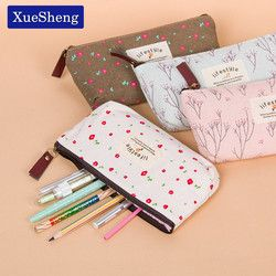 Cute Kawaii Floral Flower Canvas Zipper Pencil Cases Fabric Flower Tree Pen Bags School Supplies