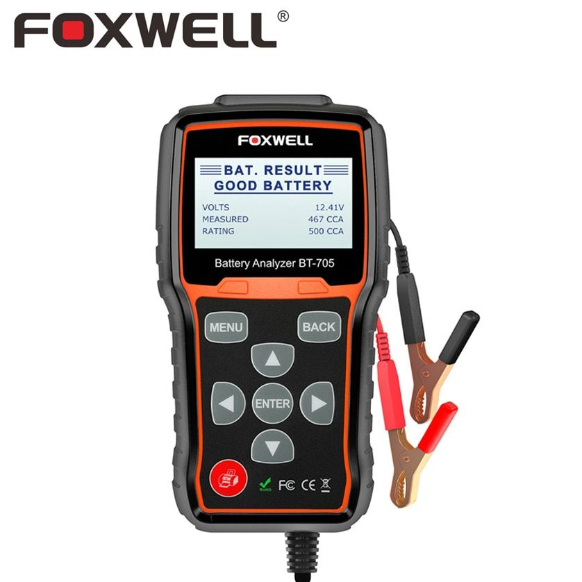 FOXWELL BT705 12V 24V Car Battery Analyzer Tester Starting Charging System For AGM Spiral GEL Batteries 12-24 V Auto Test Detect