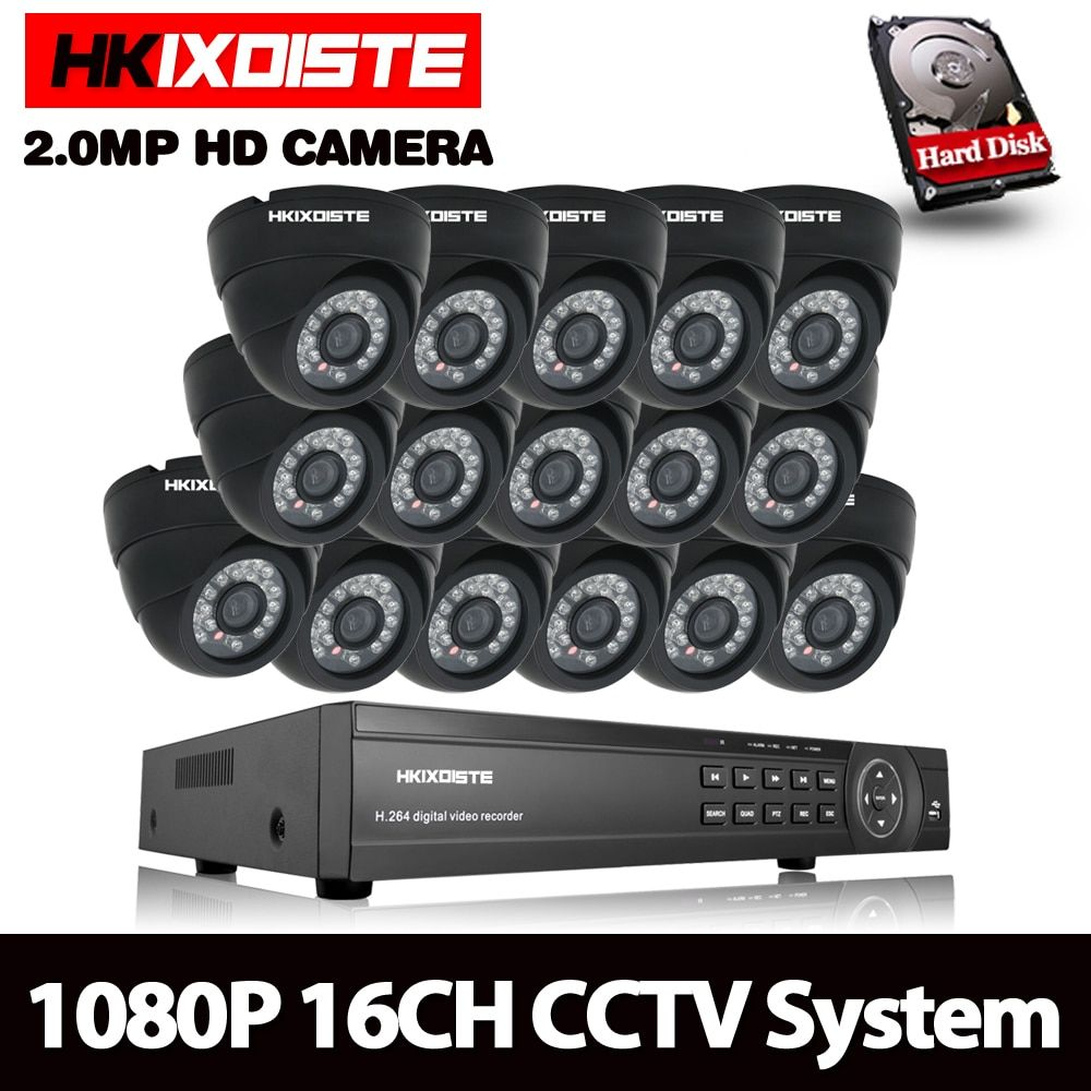 HKIXDISTE CCTV System 16CH AHD Kit HD Dome indoor 2.0mp 1080 p Kameras mit IR CUT Home Surveillance System 16 kanal DVR Kit