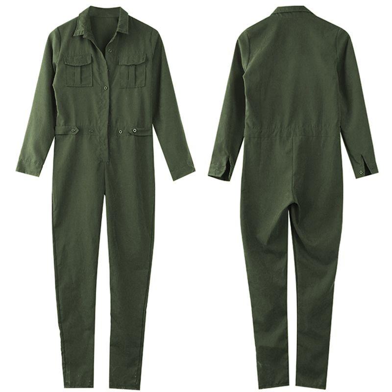 2016 Hot Fashion Women's Ladies Long Sleeves Turn-down Collar Slim Full Body Romper Jumpsuits Army green