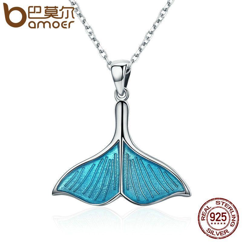 BAMOER 925 Sterling Silver Ocean Sea Blue Enamel Fish Whale's Tail Mermaid Pendant Necklaces Women Silver Jewelry Brincos SCN096