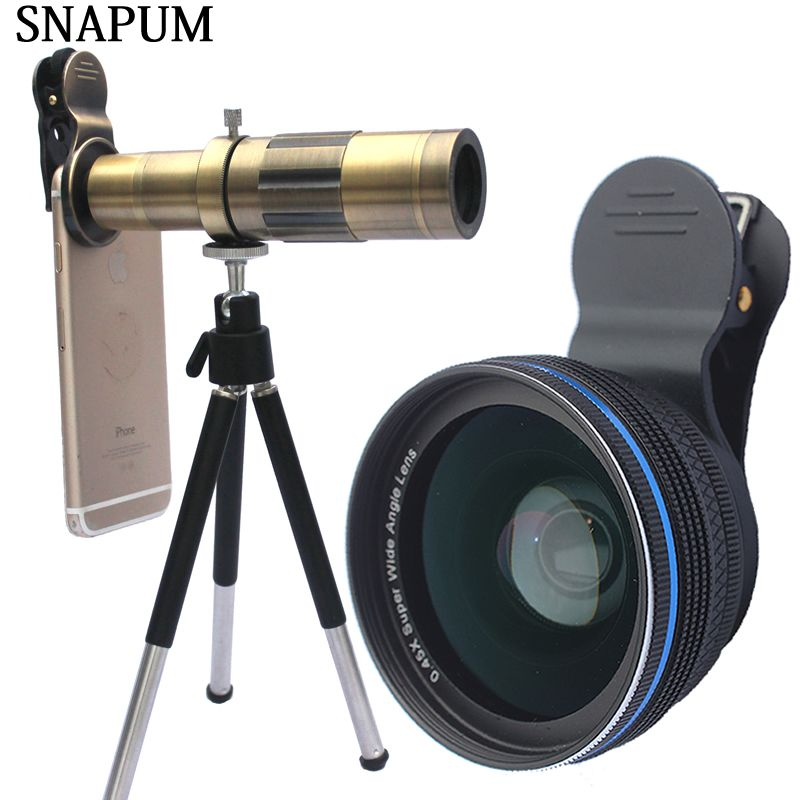 SNAPUM mobile phone 12x 18x 20x telescope + 0.45x wide lens + 10x macro 3 in 1 lenses For Huawei oppo vivo iphone samsung