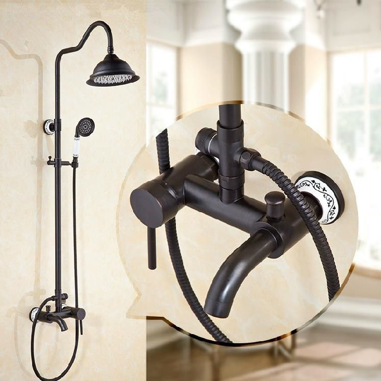 Shower Faucets Black Brass Wall Mounted Bathtub Faucet 8
