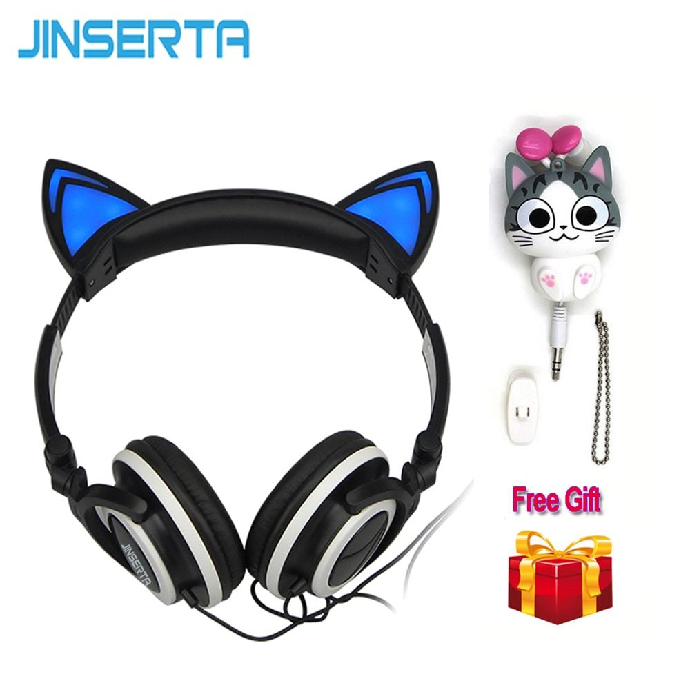 JINSERTA Chat Oreilles Casque avec LED Lumières Rougeoyantes sur les oreilles Casque De Jeu Fromage chat écouteur pour Mobile Téléphone Pad PC