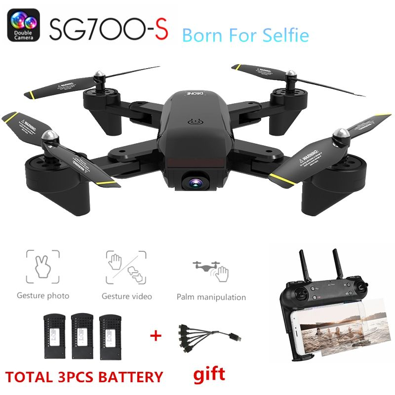 SG700-S RC Quadcopter with Camera 1080P Wifi Drone Selfie Optical Flow Dron Palm Control Helicopter 3pcs Battery Drone Kids Toys