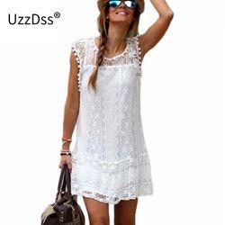 UZZDSS Robe D'été 2018 Femmes Casual Plage Robe Courte Gland Noir Blanc Mini Robe En Dentelle Sexy Partie Robes Robes S-XXL