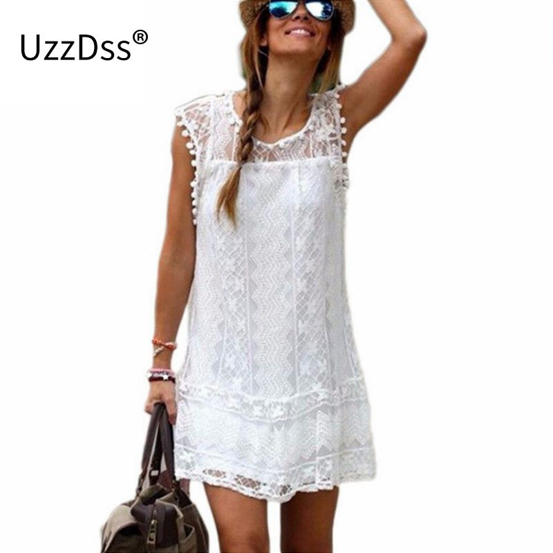 UZZDSS Summer Dress 2018 Women Casual Beach Short Dress Tassel <font><b>Black</b></font> White Mini Lace Dress Sexy Party Dresses Vestidos S-XXL