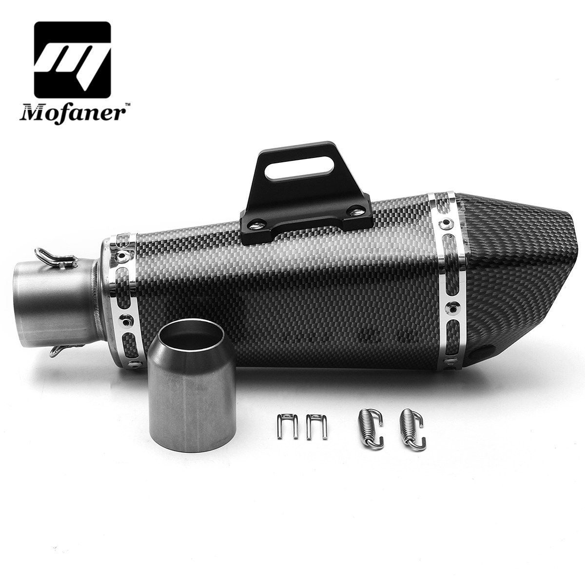 Universal 38-51mm 3 Colors Motorcycle Full Exhaust Muffler Pipe Aluminum +Stainless Steel
