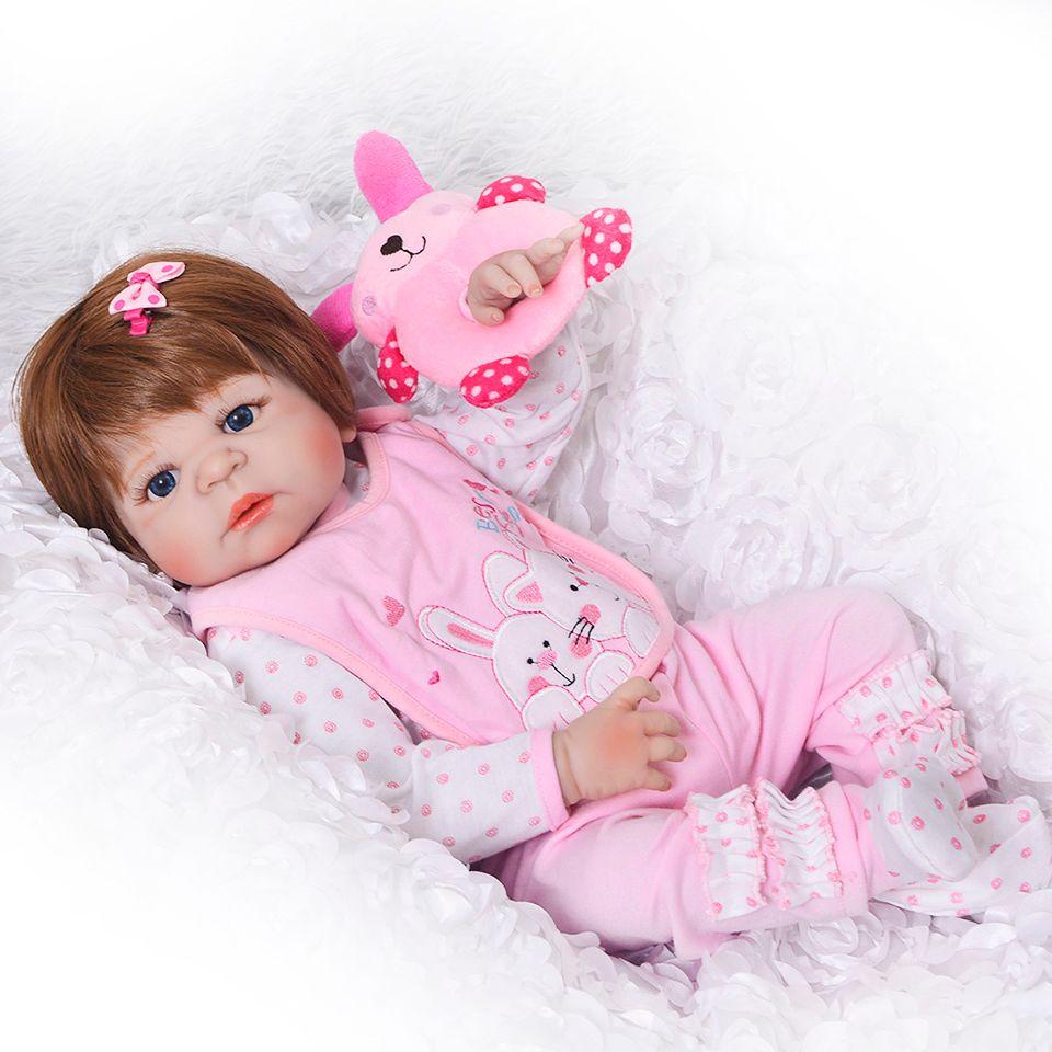 Lifelike Silicone Reborn Baby Menina Alive 23'' Newborn Baby Dolls Full Vinyl body Wear bebe Infant Clothes Truly Kids Playmates