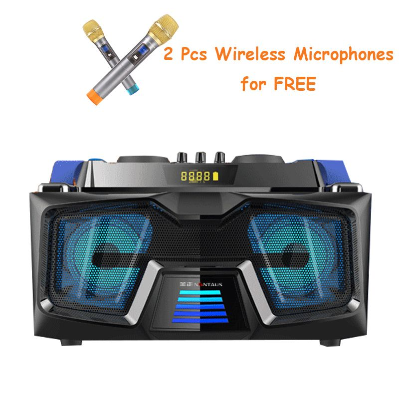 A22 Bluetooth Portable Karaoke Speakers with Wireless Mic USB Music Party Home Sound 2.1 Multimedia Speaker System