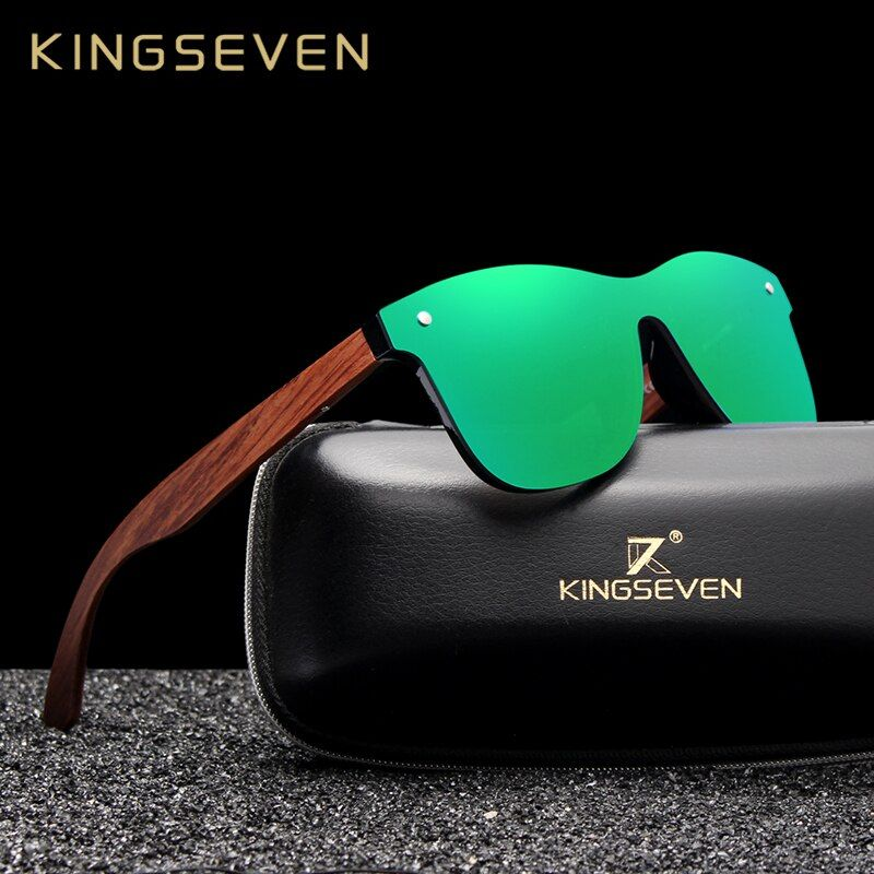 KINGSEVEN lunettes de soleil en bois naturel hommes lunettes de soleil polarisées mode Original bois Oculos de sol masculino