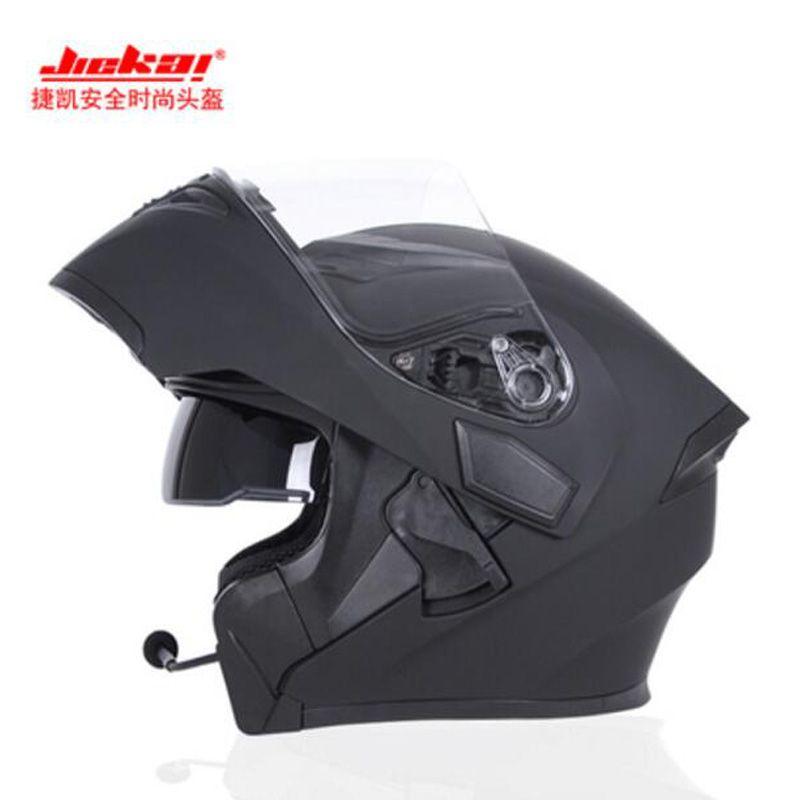 2017 Winter New JIEKAI Flip Up motorcycle helmet JK902 undrape face Motorbike helmets made of ABS PC visor lens with Bluetooth