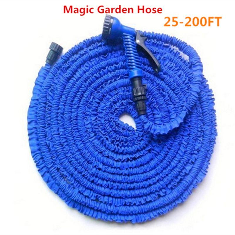 Magie flexible jardin tuyau d'eau tuyau d'arrosage bobines + pistolet pulvérisateur Extensible Voiture arrosage raccord de tuyau Bleu et Vert 25-200FT