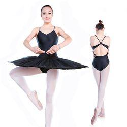 Hitam Tali Spaghetti Tak Balet Latihan Dansa Pakaian Seksi Terbuka Kembali Senam Leotard untuk Wanita